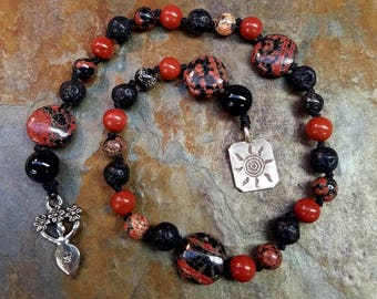 Beltane Fire Element Pagan Prayer Beads, Witches Ladder, Witches Rosary, Meditation Beads, Worry Beads, Pagan Rosary, Goddess Prayer Beads