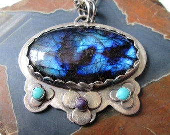 Gorgeous Labradorite Flower Pendant in Sterling Silver with Blue and Purple Turquoise Necklace Jewelry