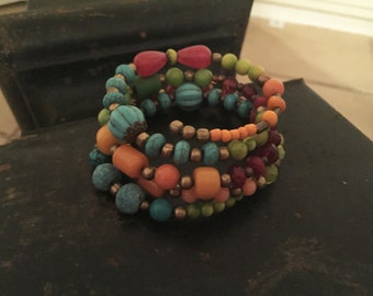 Boho Colorful Fun Mixed Glass Bead Copal Resin Czech Vintage Memory Wire Bracelet