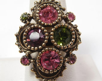 Vintage Cocktail Glass Pink Green Rhinestone Coventry Ring Sze 8 Adjustable Vtg