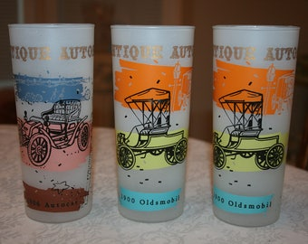 Set of Three 3 Vintage Antique Automobile Frosted Glasses Retro Midcentury 1900 Oldsmobil, 1906 Autocat