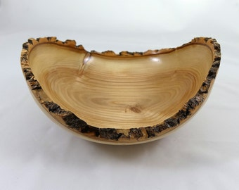Beautiful Wooden Ash Bowl, Natural Edge, Lathe Turned
