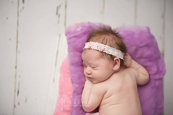 Pink Vintage Lace with Vintage Ribbon Rose flowers, stretch lace headband for newborns, photoshoots, infant, best seller, Lil Miss Sweet Pea
