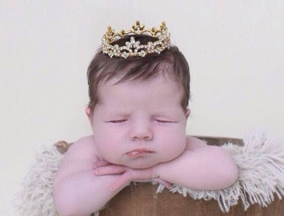 GOLD Rhinestone Baby Crown for newborn or maternity, baby crown, tiara, Austrian Crystals, photographer, newborn bebe by Lil Miss Sweet Pea