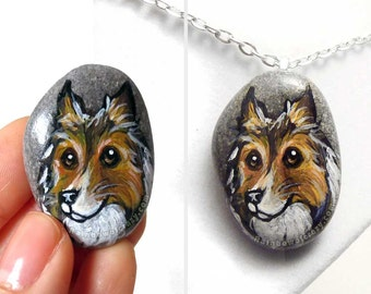 Dog Necklace, Rough Collie Pendant, Pet Portrait Jewelry, Animal Painting, Sympathy Gift for Her, Hand Painted Pebble Art, Memorial Stone