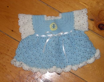 Blue Crocheted Baby Dress - 3 months