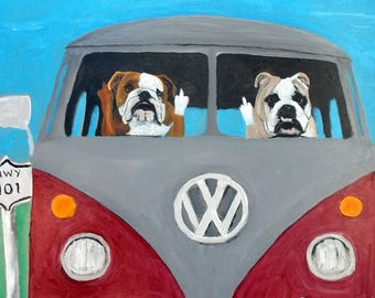 "English Bulldog Art Print of an original oil painting,""Road Ragers"",Dog Art,VW,Van,Bus,hwy 101, 8 x 10 , Dog art"