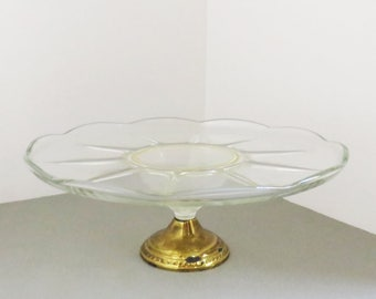 Vintage glass and brass cake stand - Cake stand with brass base - Glass and brass dessert stand - cupcake display stand