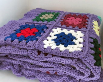 Vintage purple crochet afghan throw blanket in multicolored granny squares 70 x 64 in