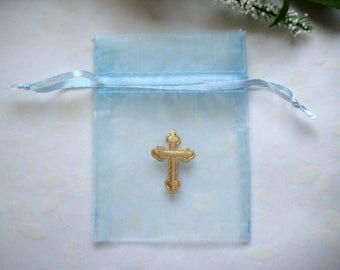 3 x 4 Baby Blue Organza Bags with Gold Puffy Nylon Cross, First Communions, Baptism Favors, Christening Favors, 10 pieces