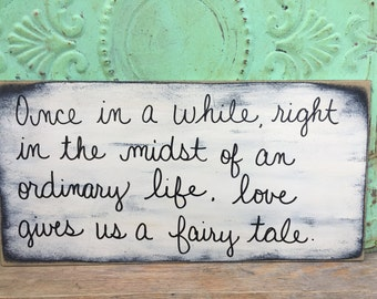 Ivory and Black Fairy Tale Wedding Sign, Wooden Wedding Sign Decor, Shabby Chic Fairy Tale Sign