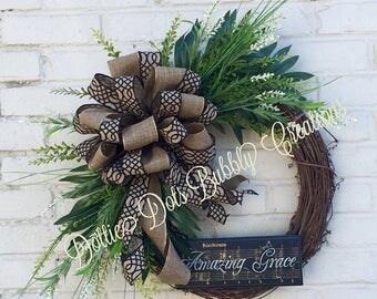 Amazing Grace Neutral Everyday Grapevine Wreath,  Neutral Wreath, Grapevine Wreath
