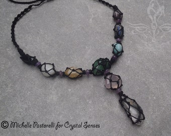 Chakra Balancing Tumbled Stones Macrame Necklace (NKCHK0003) - Ready to Ship