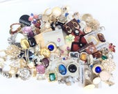 Junk lot jewelry all earrings broken singles lot Rhinestones jewelry assortment pierced and clips for Assemblage