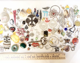 REDUCED salvaged vintage to newer pendants charms assortment salvaged lot recycle reuse 100 pieces lot