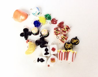 Unusual glass beads vintage food lamp work cards candies hearts old recycled beads