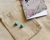 You're a Gem - Triangle Geometric Turquoise Stud Gemstone Earrings