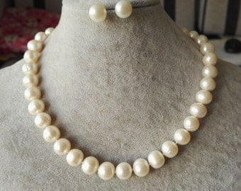 Pearl Set - genuine cultured 11-12 mm white freshwater pearl necklace & earrings set
