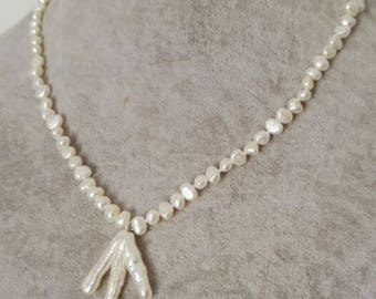 free shipping- pearl necklace, baroque pearl necklace, white freshwater pearl necklace pendant