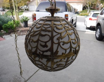Vintage Pierced Brass Asian Ceiling Swag Light Fixture With Rice Paper