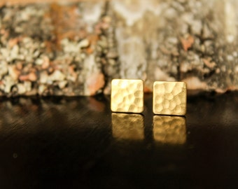 Hammered Square Earring Studs in Raw Brass, Stainless Steel Posts