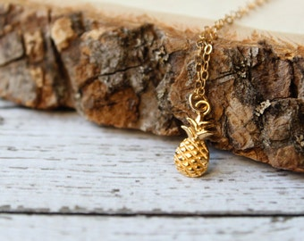 Pineapple Necklace, Available in Sterling Silver, Gold Vermeil, and Rose Gold Vermeil, Sweet Tropical Fruit, Be a Pineapple, Island Treat
