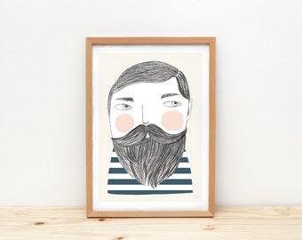Bearded man art print, illustration by depeapa, sailor, bearded man wall art, A4, sailor drawing, wall decor, kids room decor, hipster