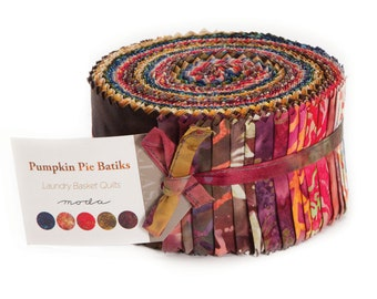 Pumpkin Pie Batik Fabric Collection by Laundry Basket for Moda Fabrics - 1 Jelly Roll