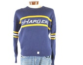 RESERVEDVintage 80s Cliff Engle Sweater San Diego Charges NOS NFL Football Navy Blue 1980s Pullover Mens Large L