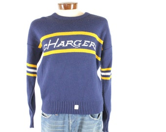 Vintage 80s Cliff Engle Sweater San Diego Charges NOS NFL Football Navy Blue 1980s Pullover Mens Large L