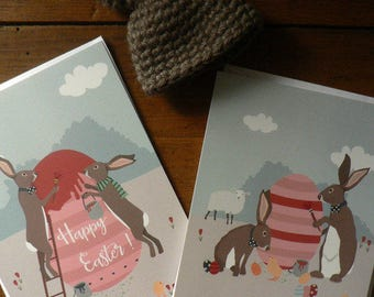 Set of 2 Easter postcards featuring two very elegant Easter Rabbits wishing a Happy Easter