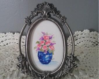 Watercolor Art Framed Blue Vase of Pink Roses Home Decor Wall Art Framed Original Hand painted vintage Frame