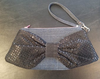 Mini Bow Clutch Wristlet - Recycled Denim Body with Black Sequin Bow, Neon Pink Zipper, Black and Grey Checkered Print Lining