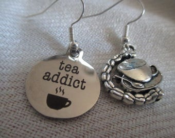 Tea Addict Mismatched Earrings - one pair