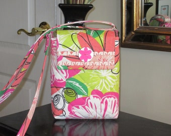 Pink, Peach, and Lime Green Flower Print on a White Background with a Velcro Flap Closure Quilted Crossbody/Shoulder Bag, Quilted Tablet Bag