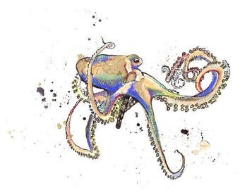 Octopus in Color - Ink Sketch, Ink Drawing, Pen and Ink, Pastel, Fine Art Print, Giclee, Original Art, Sea life, Ocean Octopus