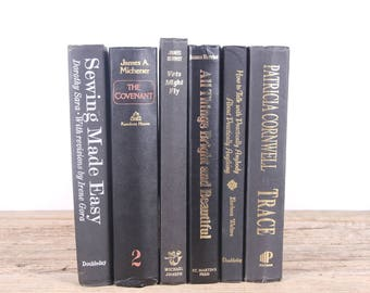 Vintage Black Books / Old Vintage Books / Black Decorative Books / Antique Books / Vintage Mixed Book Set / Books by Color / Books for Decor