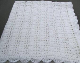"""Crochet Baby Blanket - White - Crochet Keepsake  - 35""""x36"""" Infant Afghan"""