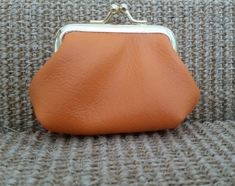 Leather coin purse,orange purse,change purse,small leather coin purse