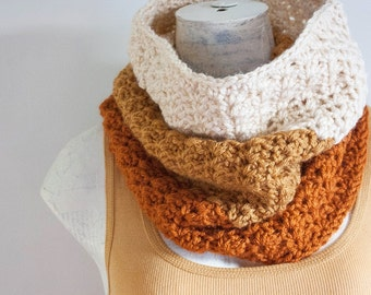 READY TO SHIP Crochet Color Block Cowl in Pumpkin Gold and Cream Infinity Scarf Pumpkin Spice