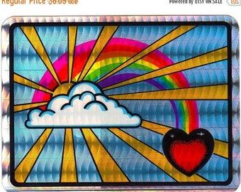 SALE Fabulous Vintage Selectra Prismatic Rainbow Sunburst Sticker - Prism Heart Sun Ray Sunrise Sunset Sky Vending Machine Inspirational