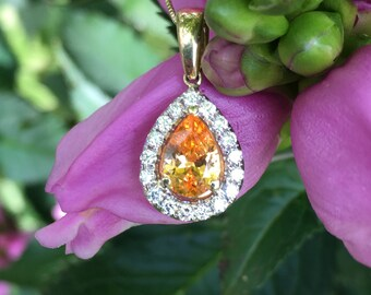 1.59ctw 14k YG Untreated Bright Orange Pear Spessartite Garnet Diamond Pendant