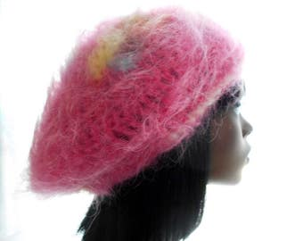 Pink Mohair - Blend Tam, Women's Crochet Hat, Large to Extra Large Size