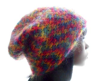 Rainbow Mohair - Blend Slouchy Hat, Women's Crochet Hat, Large to Extra Large Size