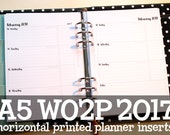 2017 Planner Inserts A5 WO2P (Horizontal Layout), made-to-order, week on two pages, for Filofax, Carpe Diem, Kikki K, Dokibook. 160gsm paper
