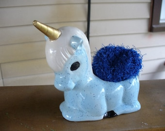 Handpainted Blue Unicorn Scrubbie Holder