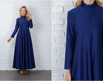Vintage 70s Navy Blue Maxi Dress A Line Long Sleeve Medium M boho hippie 8991