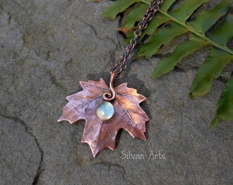 Copper Maple Leaf Necklace with Prehnite - Elven Leaf - Botanical Jewelry - Artisan Handcrafted With a Real Leaf - Woodland - Forest