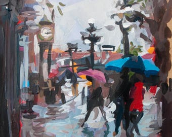 "Vancouver Cityscape Painting // The Gastown Steam Clock (Vancouver no. 69) // 7"" x 7"" // Original Acrylic Painting on Paper"