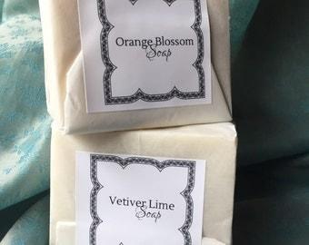 2 Fragrant SOAPS VetiverLime & OrangeBlossom   Wonderful gift for both Men and Women